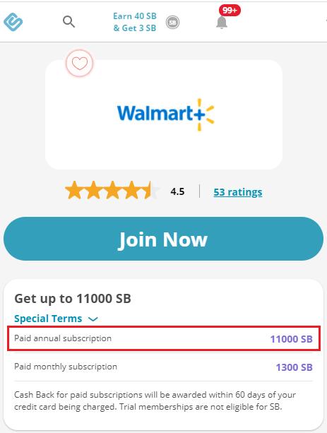 Swagbucks Walmart+ offer