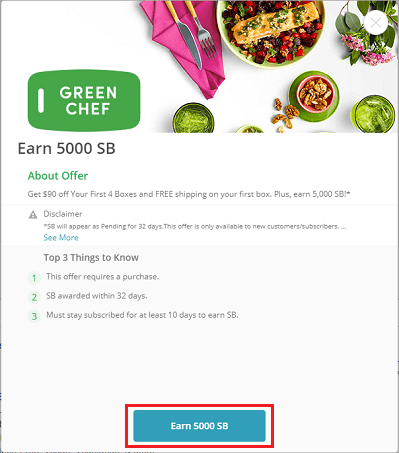 Green Chef 'Earn 5,000 SB' button highlighted