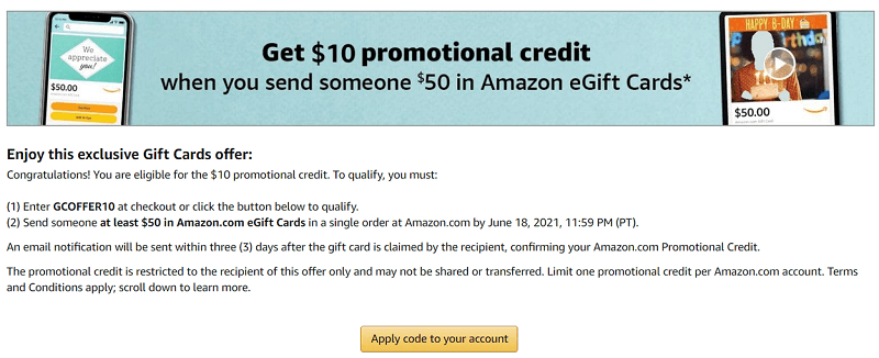 Send $50 Amazon gift card and get $10 promotional credit