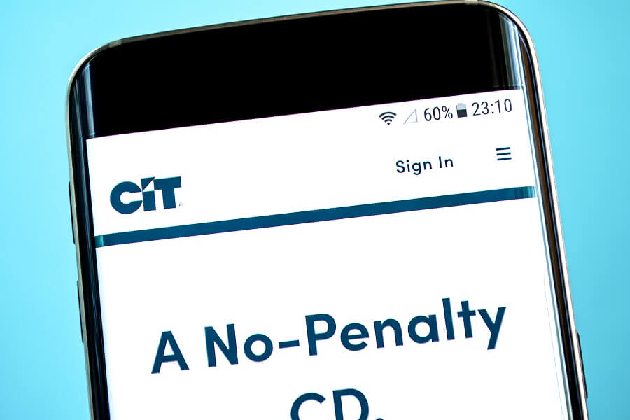CIT Bank website on phone hero image