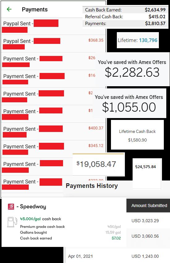Cash back summary screenshots