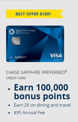 Chase Sapphire Preferred 100,000 bonus points offer
