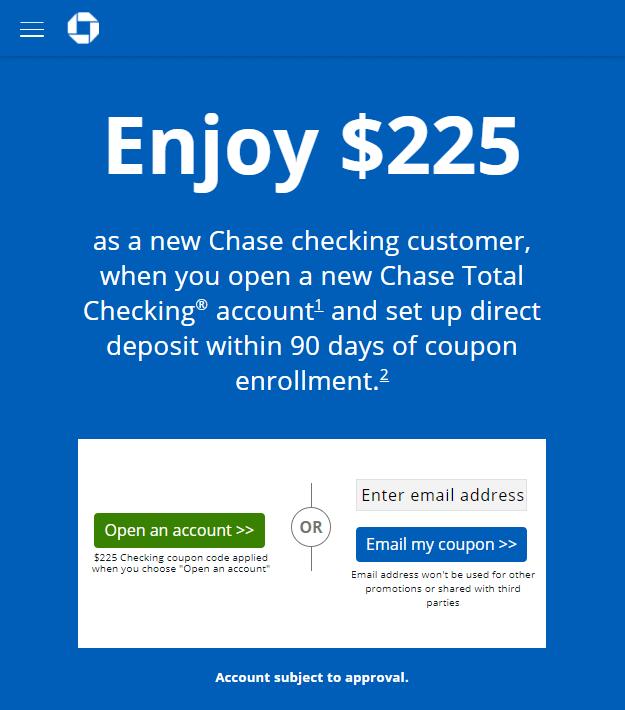 Chase $225 checking bonus offer