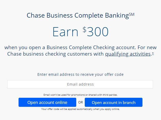 Chase $300 business checking bonus offer