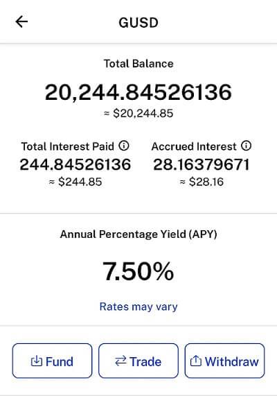 GUSD interest rate on BlockFi
