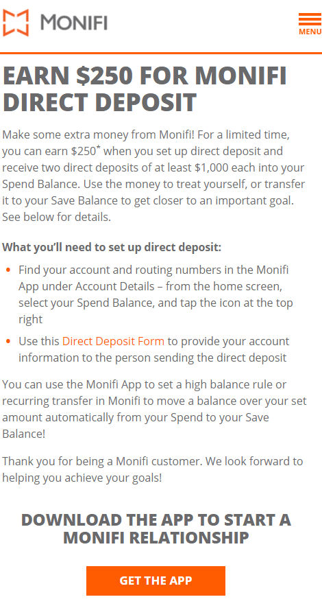 Monifi $250 checking bonus