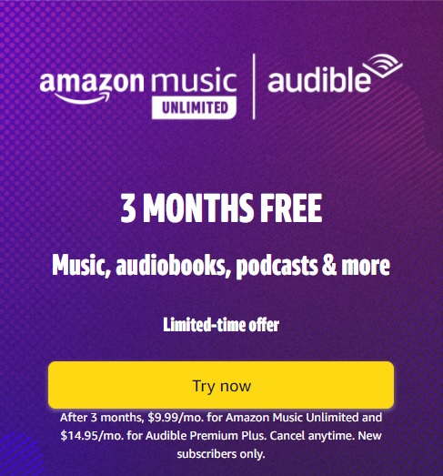 Audible 3-month trial offer