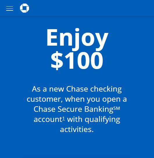 Chase $100 checking bonus offer